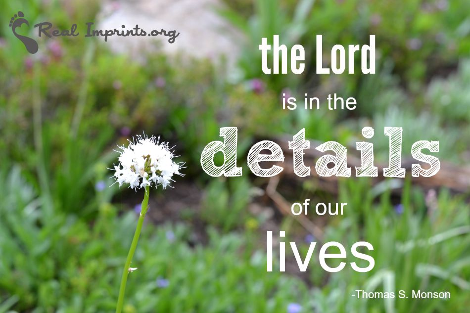 The Lord is in the details of our lives.