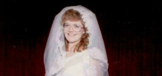 Lori in her wedding dress