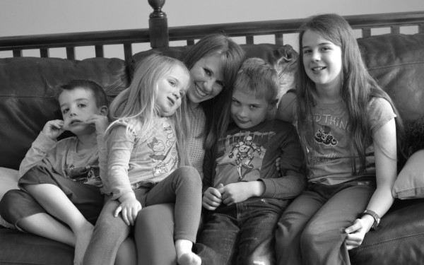 Cheryl with her kids