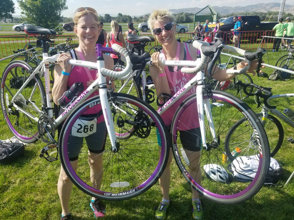 Linda and Cheryl at Triathlon
