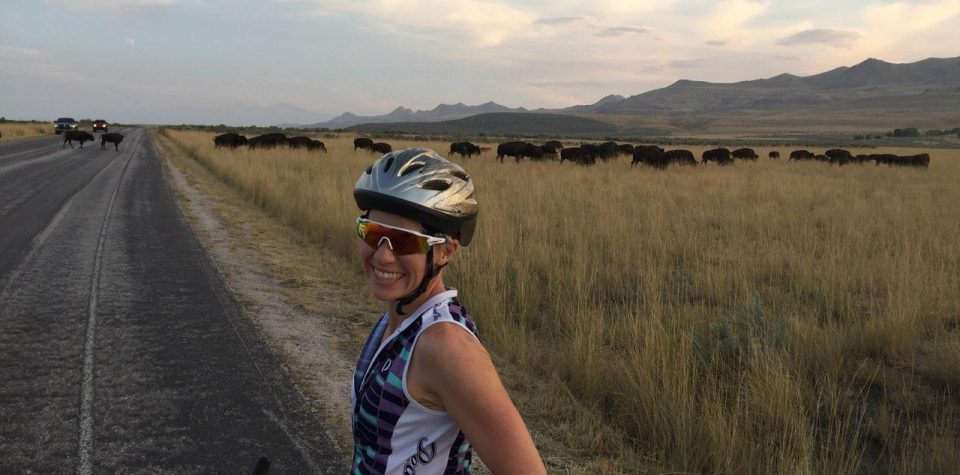 Wearing my bike sunglasses with buffalo in the background